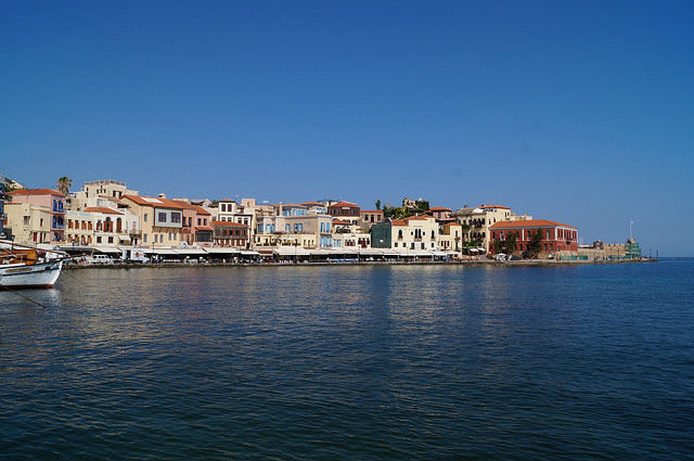 A Day in Crete, Greece - Opposite view of harbor in Chania Greece