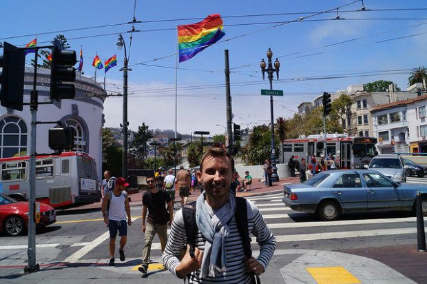 My First Time in San Francisco - Big gay flag in the Castro