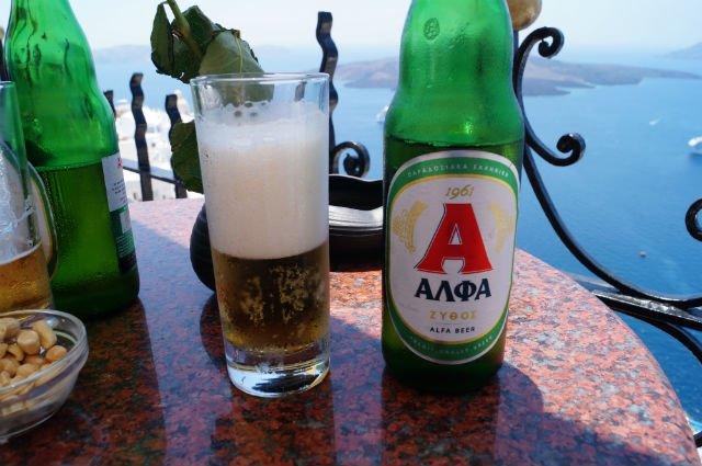 Stunning Santorini Greece - Alpha beer in Thera at Palia bar