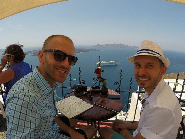 Stunning Santorini Greece - Roman and Shawn from the Palia bar