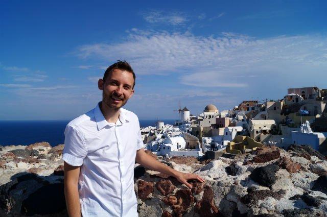 Stunning Santorini Greece - Shawn overlooking Oia