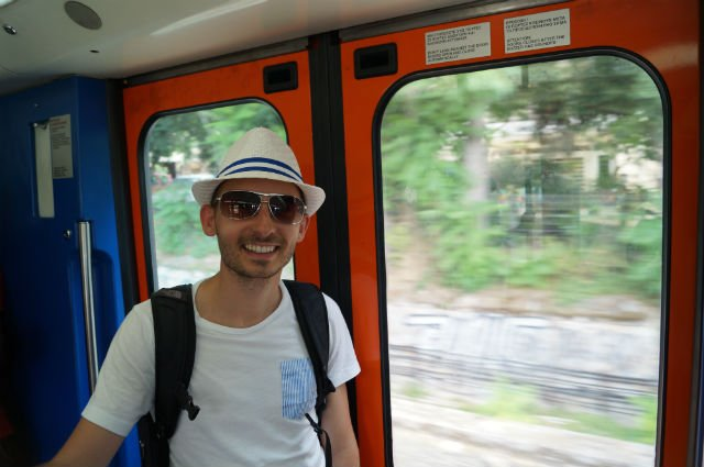 Sunday in Athens Greece - Shawn riding the Athens metro