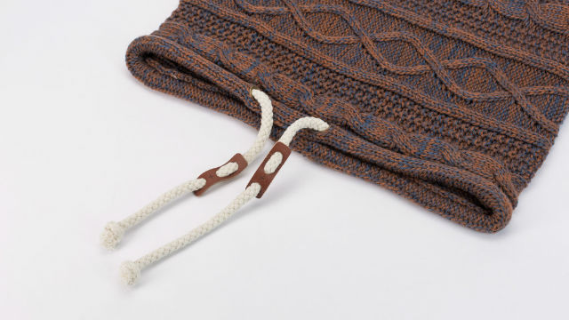 Manly Scarves for Travel - Cable Knit Drawstring Snood