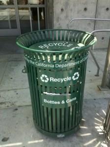 Watchful recycle bin in Santa Monica, CA