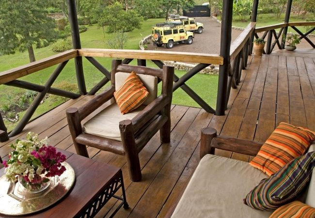Balcony with Land Rovers - Twiga Lodge, Tanzania