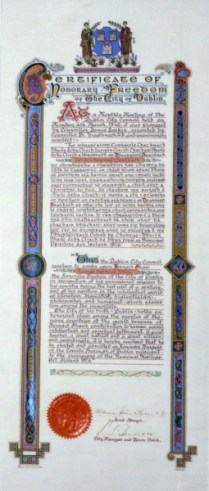 Shaw's certificate of Freedom of the City of Dublin.