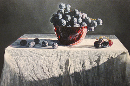 Grapes in a Red Glass Bowl