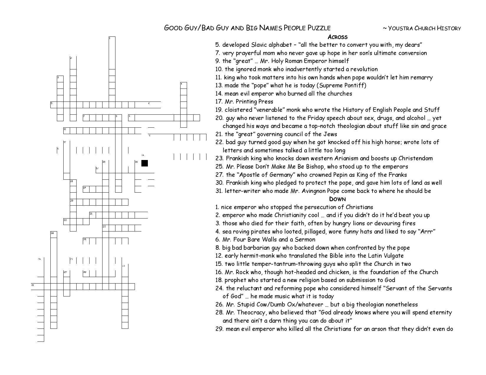 Sophomore Religion Review Terms Puzzles Amp Answers
