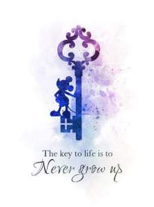 Never Grow Up Mickey Mouse Quote ART PRINT Key, Nursery, Gift, Wall Art, Home Decor