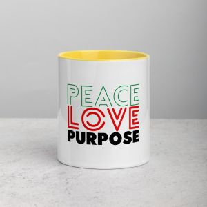 Peace Love Purpose, Cool Statement / Ceramic Mug with Color Inside – Yellow