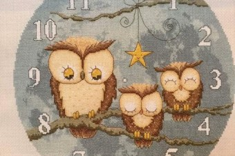 Owl Clock – magazine commission stitch