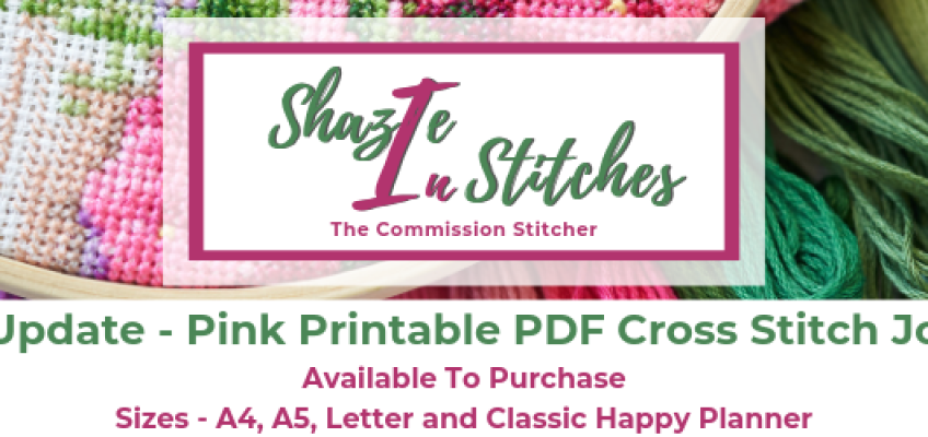 Pink Printable PDF Cross Stitch Journal – Available to Purchase