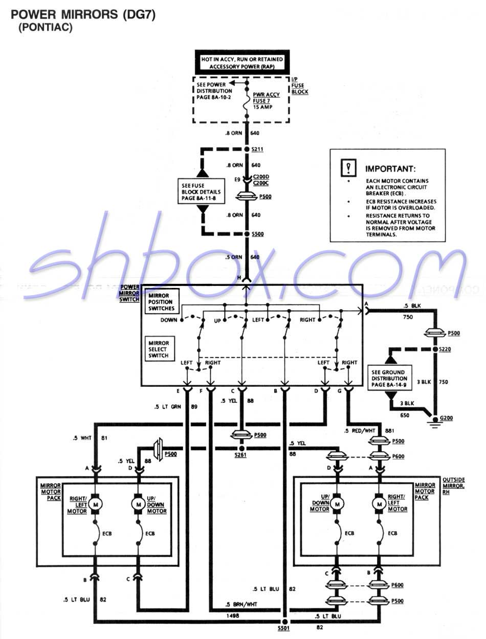 medium resolution of power mirror schematic 1995 firebird