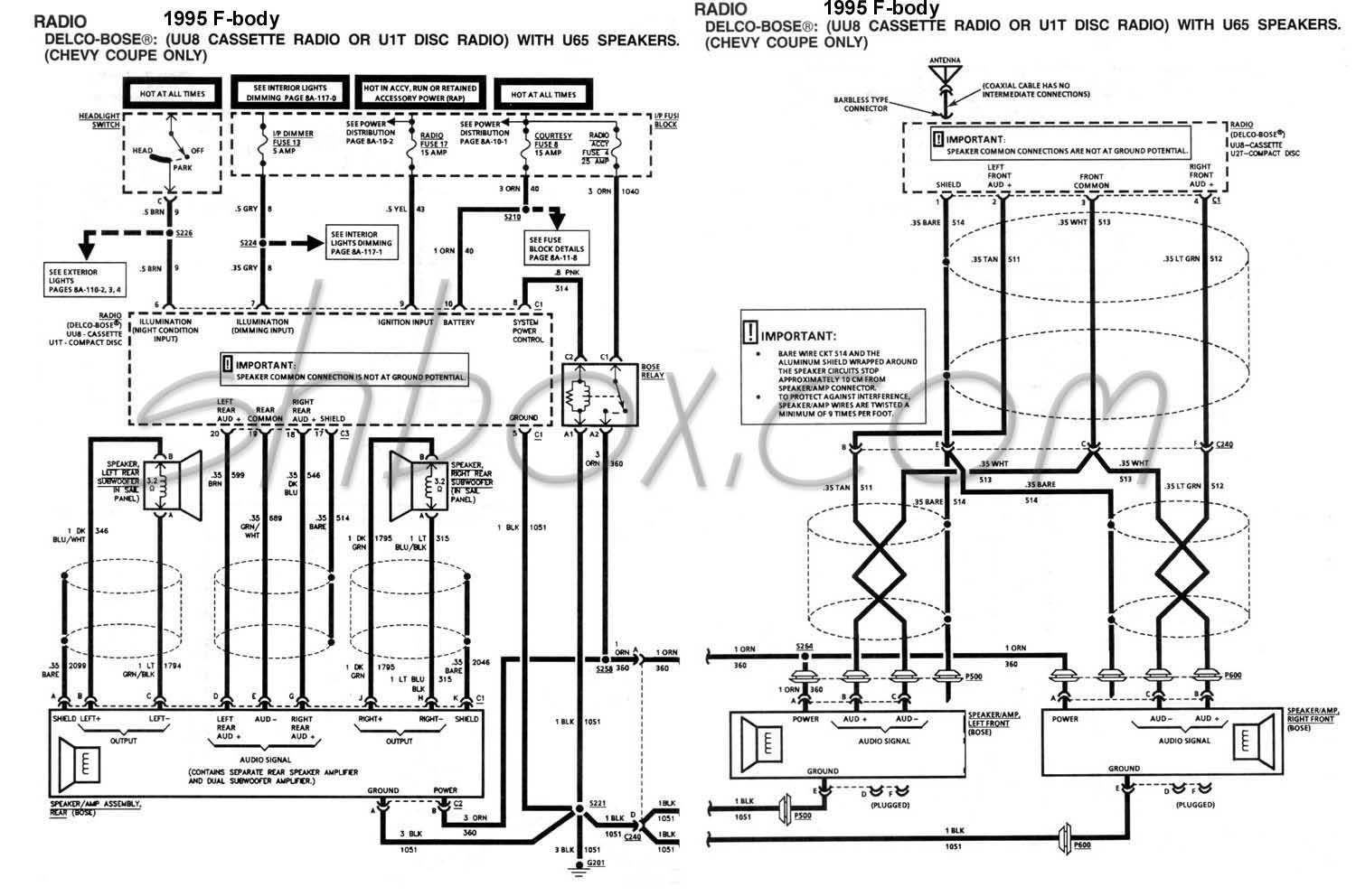 2002 pontiac sunfire radio wiring diagram single phase electric motor 4th gen lt1 f body tech aids bose schematic 1995 camaro