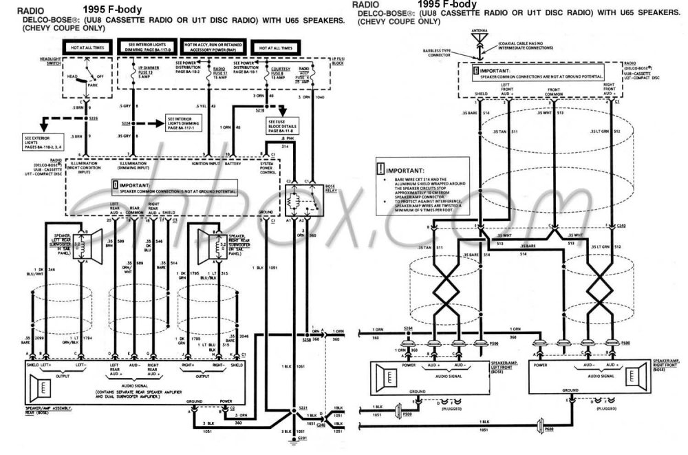 medium resolution of 4th gen lt1 f body tech aidsbose schematic 1995 camaro