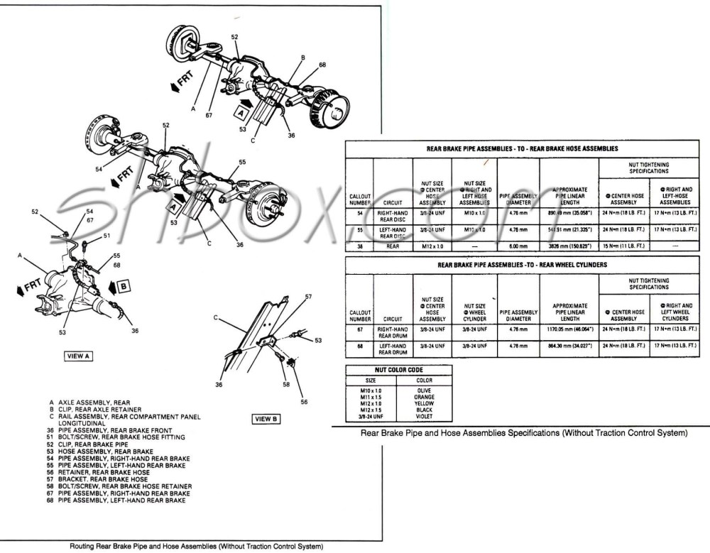 medium resolution of rear brake pipes w specs non tcs
