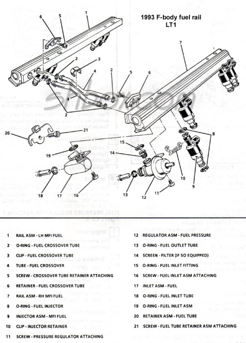 small resolution of 4th gen lt1 f body tech aids drawings exploded views lt1 heater hose diagram fuel
