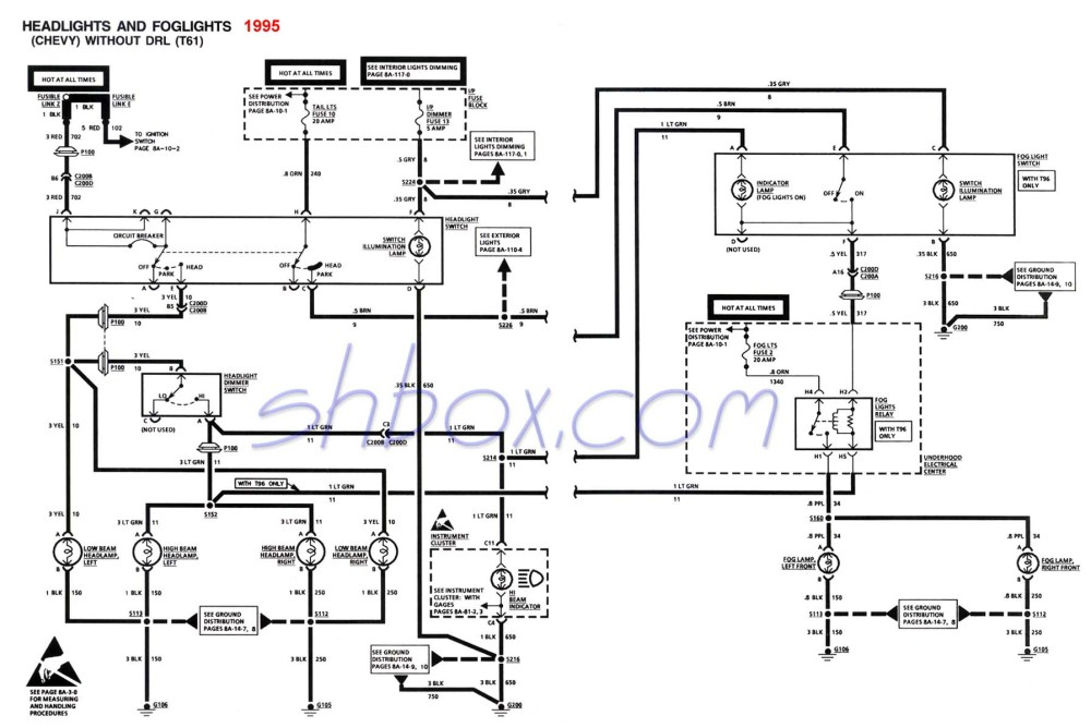 medium resolution of headlight foglight schematic 1995 camaro