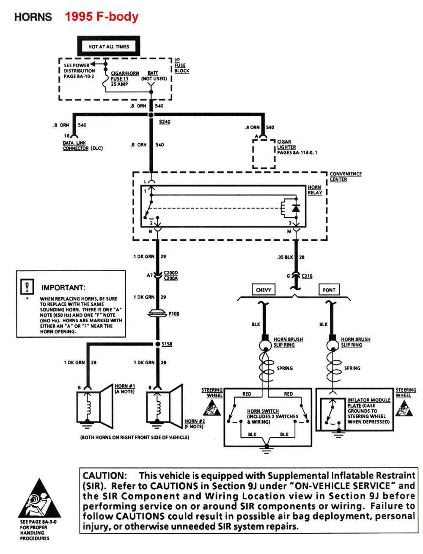 horn wiring diagram ce tech cat5e jack 94 chevy data 4th gen lt1 f body aids 8 inch lift
