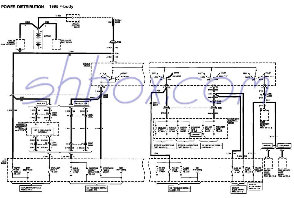 medium resolution of 4th gen lt1 f body tech aidsignition switch schematic 1995