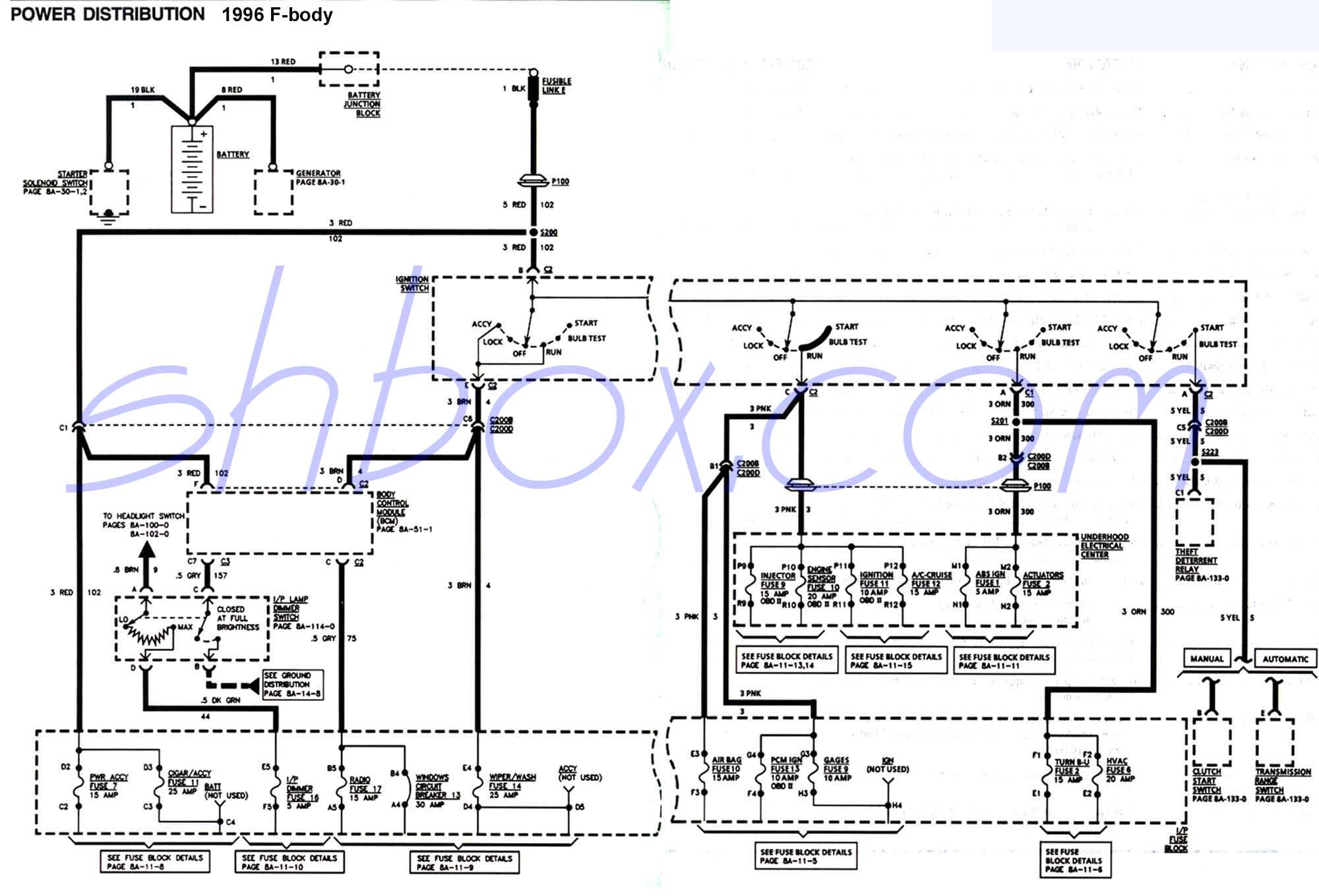 hight resolution of 4th gen lt1 f body tech aidsignition switch schematic 1996