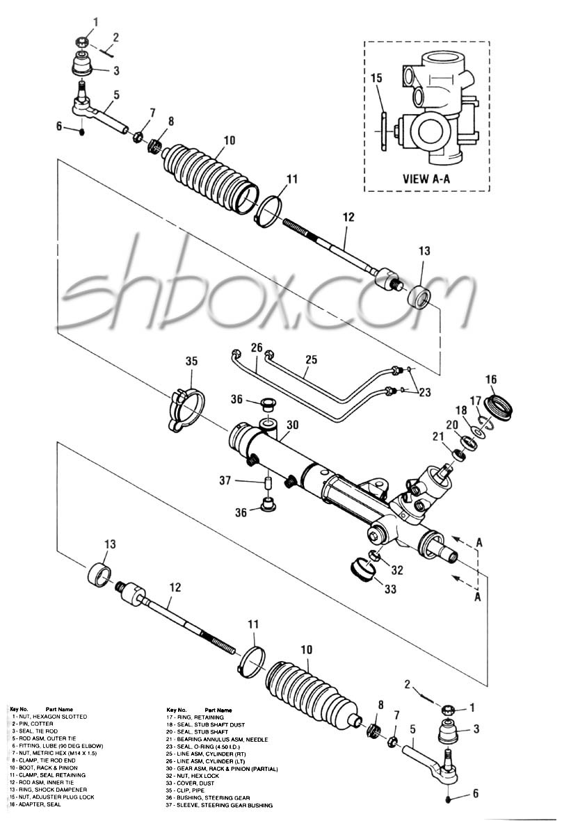 Rack and pinion exploded view