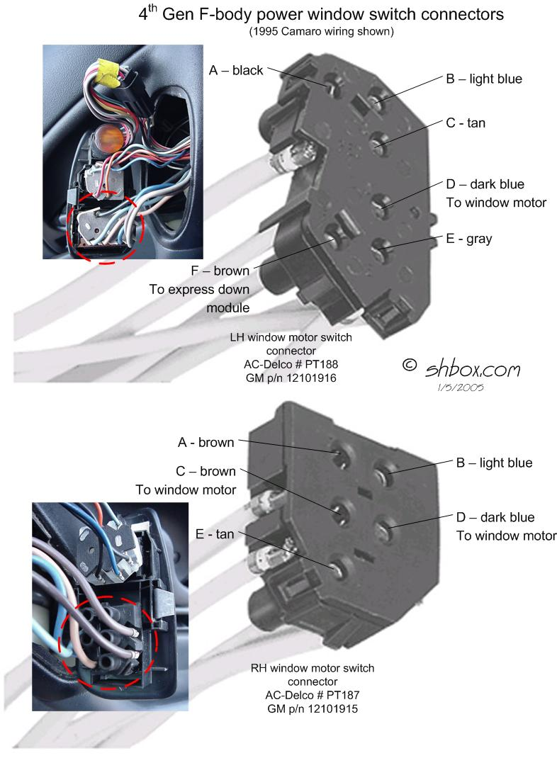 1998 ford contour fuel pump wiring diagram 2016 kawasaki brute force 750 4th gen lt1 f body tech aids power window switch connectors