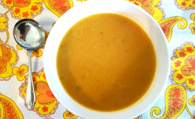 Butternut squash soup with tomato and sweetcorn