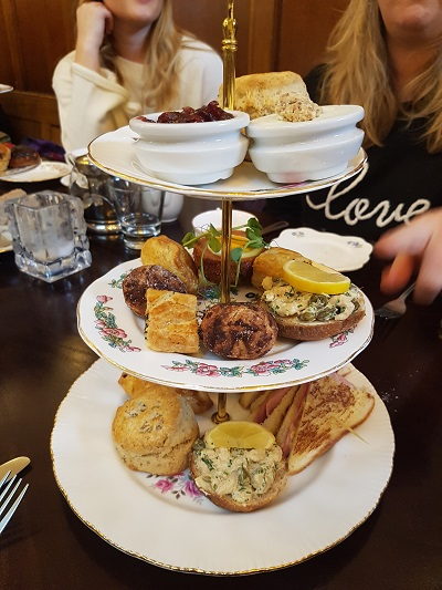 A savoury afternoon tea stand / The Courthouse Knutsford / Afternoon Tea / SHE-EATS