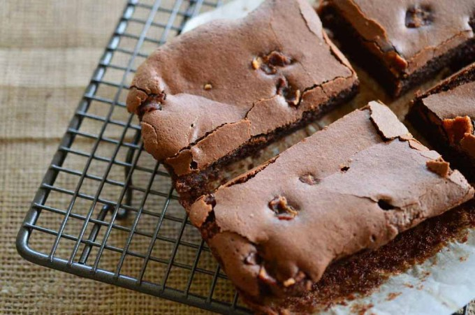 close up of bacon brownies on cooing rack