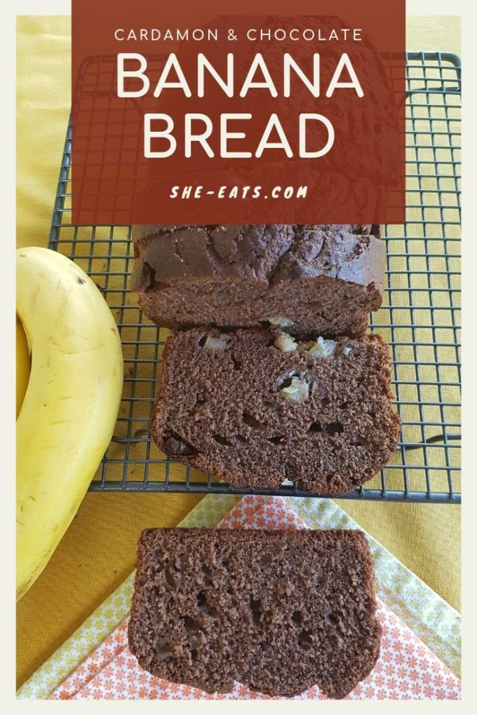 Pinterest image of banana bread on cooling tray