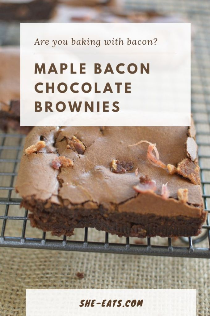 Vertical image of maple bacon brownies made for Pinterest