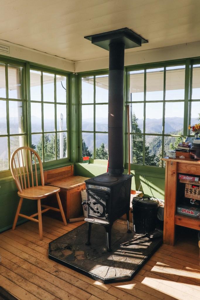 Deadwood Lookout Cabin wood stove window view
