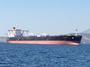 one of the many cargo ships close to the Korinth channel