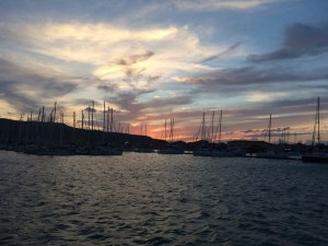 Lefkas harbour with sunset in an unstable weather condition
