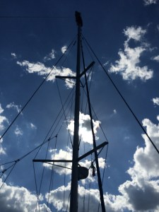 ... and all the way up once again to install the spare rope for short wave antenna and spare halyard