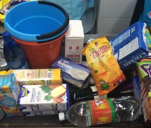 """the """"first impression"""" in the supermarket in Fort de France - after 2 bags in Mindelo and only two items in Barbados I am finally happy to go shopping again :-)"""
