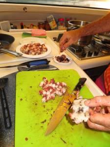 cutting octopus