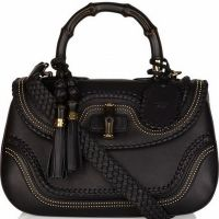 Gucci Bamboo  Black Leather Luxury Handbags
