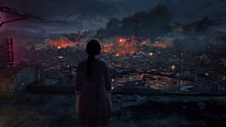 Chloe looking over a destroyed city in India.
