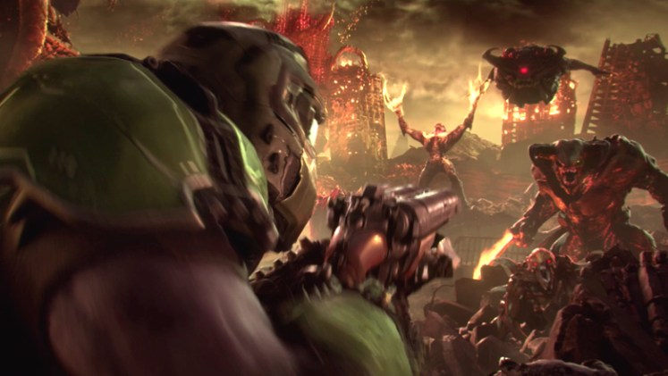 Doomguy fighting demons in DOOM Eternal
