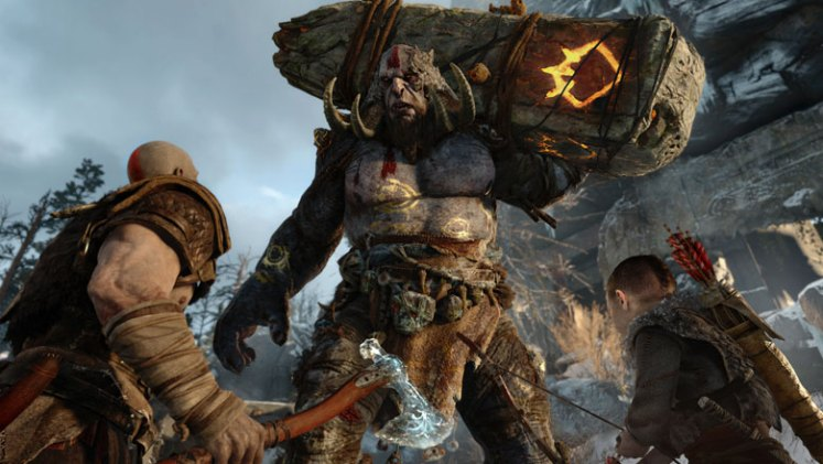 Kratos and Atreus Fighting a Boss