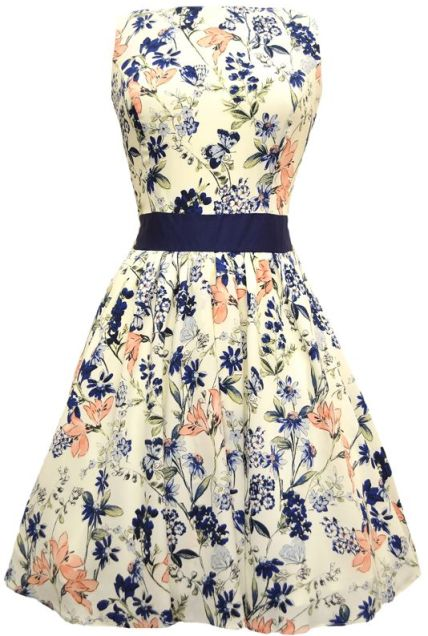 Vintage Peach and Navy Floral Tea Dress £50