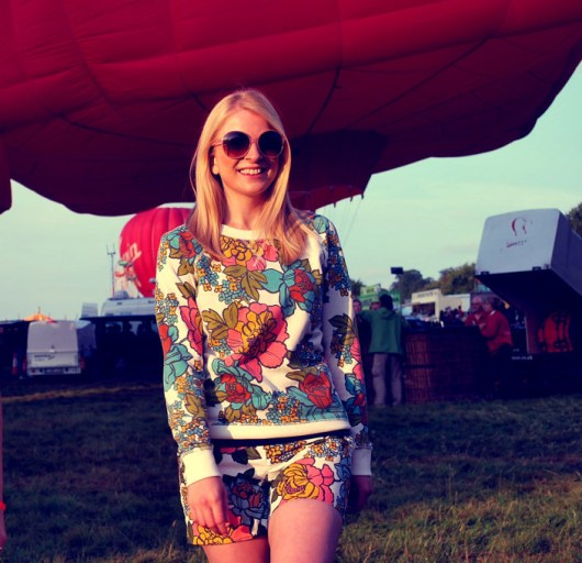 Victoria wears Festival Sweatshirt and Boho Shorts both from Boden* with a navy top from Blackspade*, sunglasses from Accessorize and shoes from New Look* (pictured below)