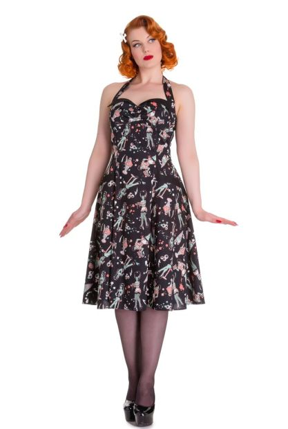 50's Zombie Diner Rockabilly Dress Black £44.99 (reduced from £62.99) by Hell Bunny at Tiger Milly