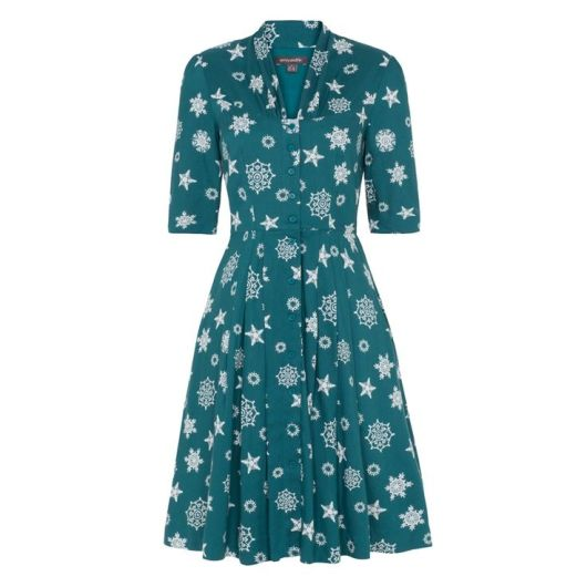 She and Hem | Double Thumbs Dresses #63 | Rose Dress Teal Falling Snowflake £75 from Emily and Fin