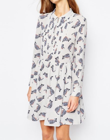 Babydoll Dress in Grey Cat Print £165 by Paul & Joe Siser at ASOS