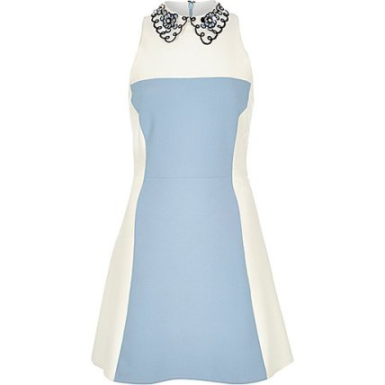 Blue Crepe Colour Block Collared Dress £70 from River Island