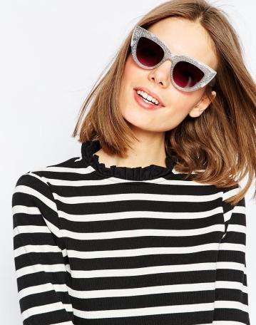 Flat Top Cat Eye Sunglasses With Metal Sandwich And Flat Lens £12.00 from ASOS