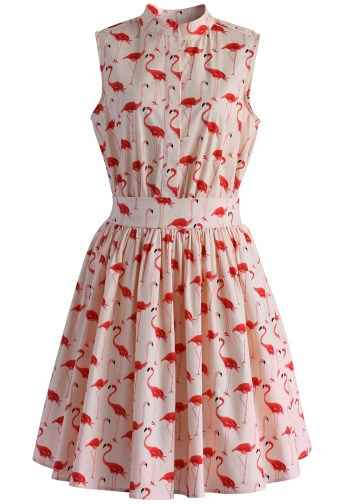 Flamingo Fun Flare Print Dress $59.42 (£42ish) from Chicwish